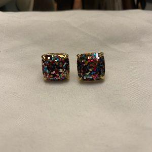 Kate Spade Mini Square Glitter Stud Earrings